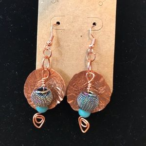 Jewelry - Handmade recycled copper earrings